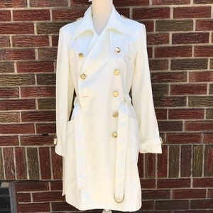 INC Off white gold buttoned trench